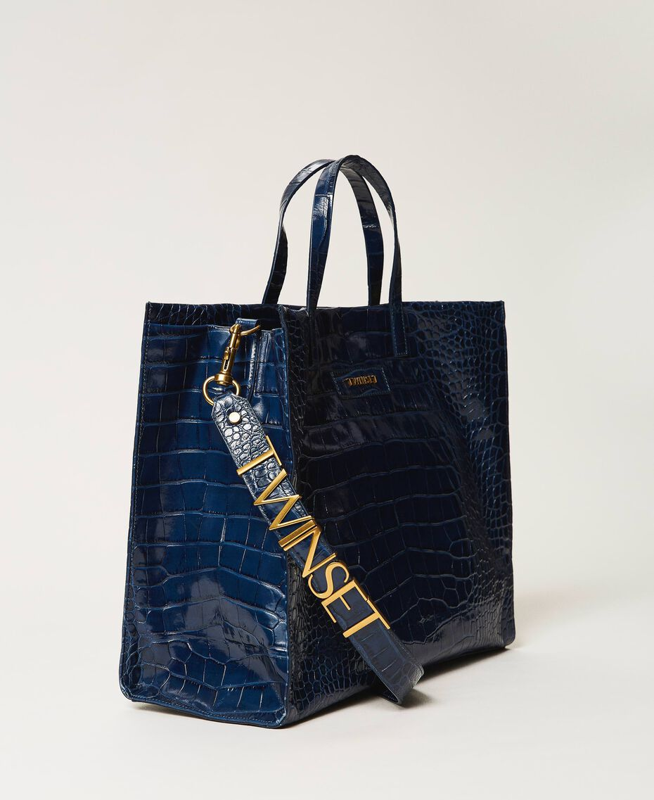 "Borsa shopper Twinset Bag grande in pelle Stampa Cocco Blu ""True Navy"" Donna 202TB7110-01"