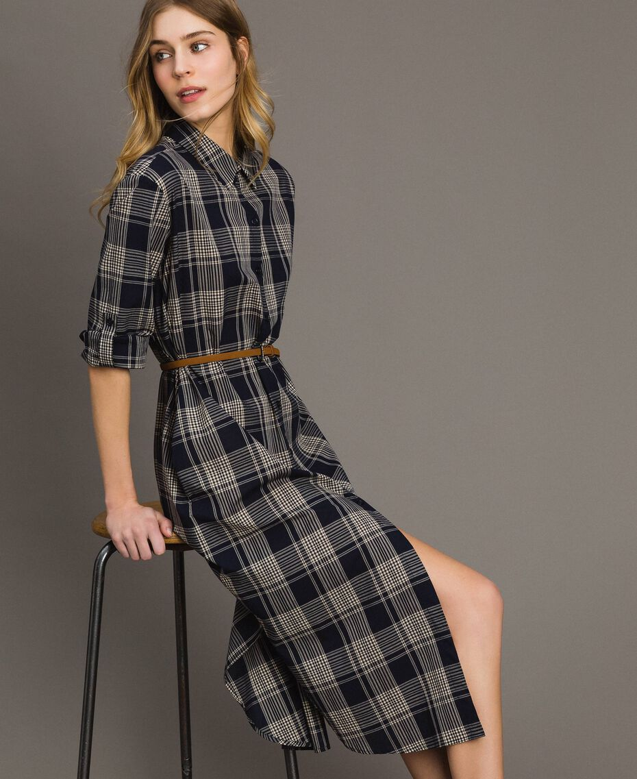 Check dress with belt Blue Shadow Check Jacquard Woman 191ST2132-06