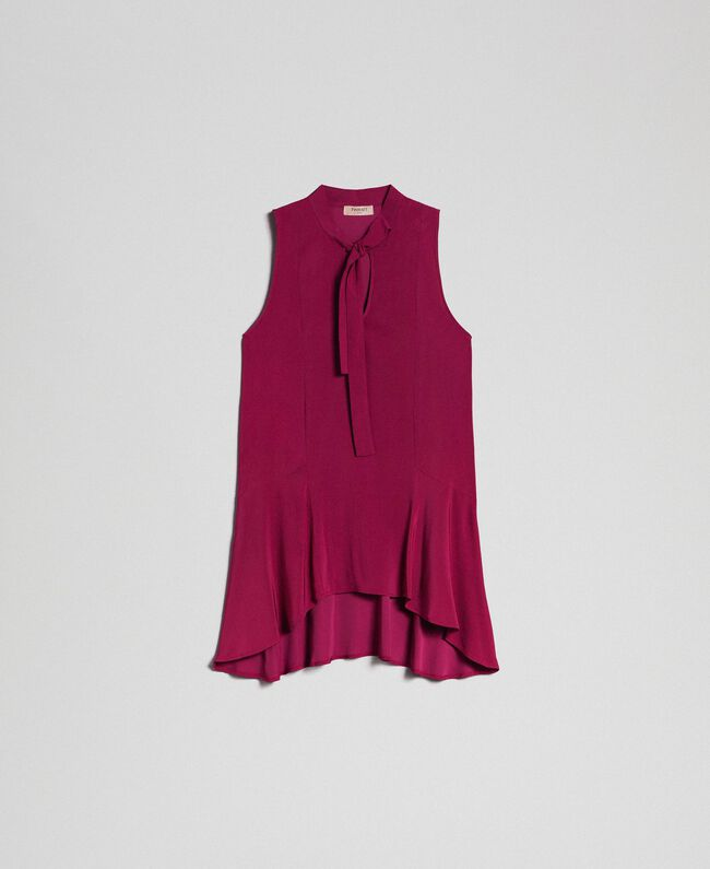 Georgette blouse with pussy bow Beet Red Woman 192TP2383-0S