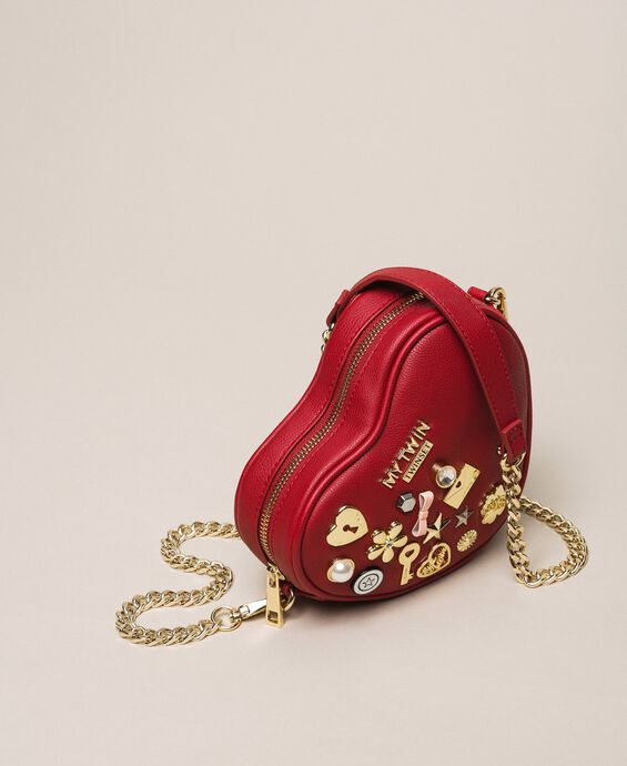 Faux leather heart shaped shoulder bag