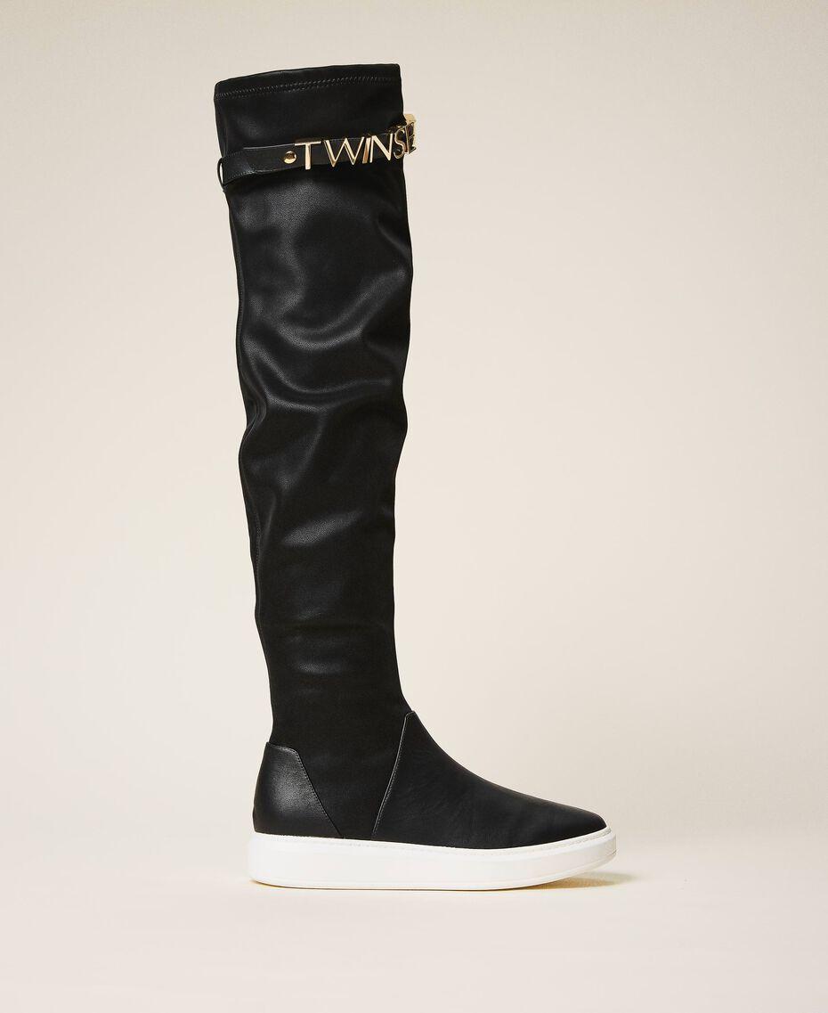 Stivali sneakers con logo Nero Donna 202TCP038-01