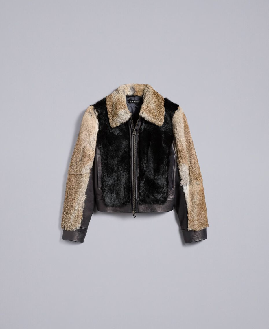 Two-tone leather and fur jacket Black Woman TA82AC-0S