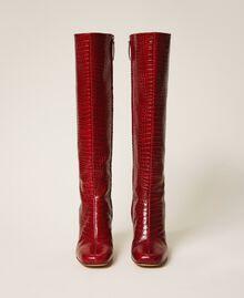 Stiefel aus Leder in Kroko-Optik Krokoprägung Kirschrot Frau 202TCP07C-05
