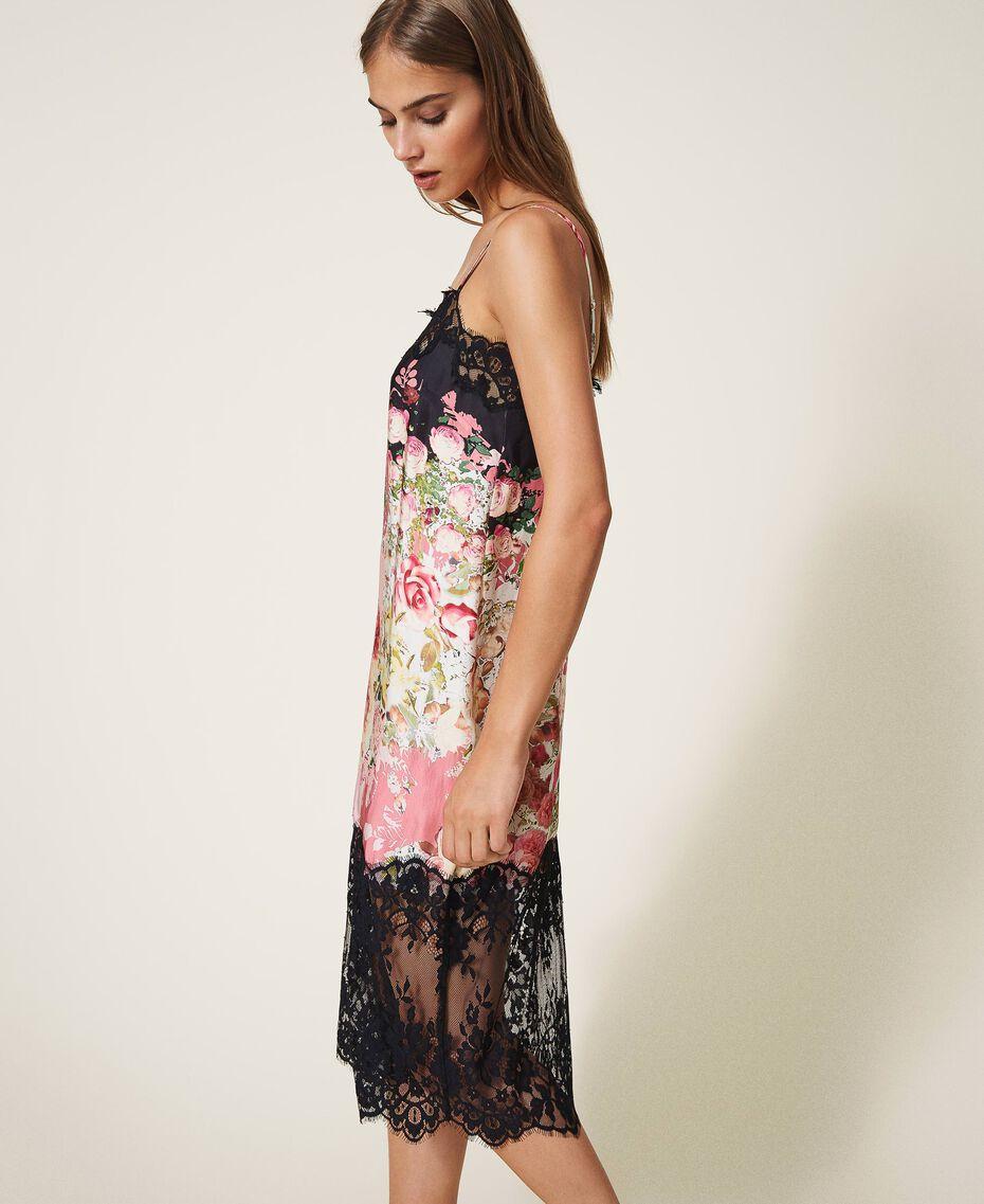 Printed satin slip dress with lace Animal Print Woman 202LL2EJJ-02