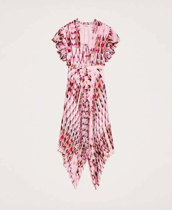 Printed georgette dress with pleats and frills
