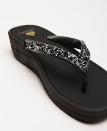 Thong sandals with sequins Black Woman 201LBP9GG-03