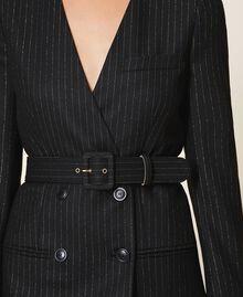 "Lurex pin striped dress with belt Black / ""Lurex"" Gold Pin Stripe Woman 202TT2176-05"