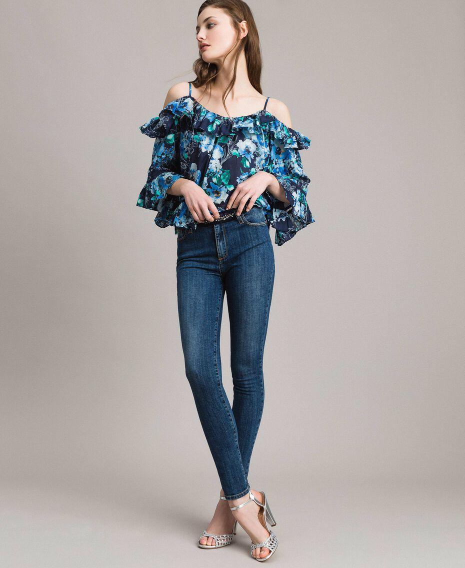 Jean skinny brodé avec gros grain Bleu Denim Femme 191MP2483-01