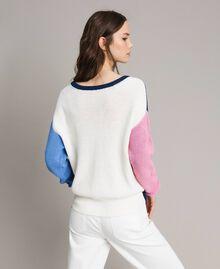 Maglia color block con spilla fiocco Multicolor Indaco / White / Rosa Ortensia Donna 191MP3091-06