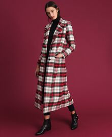 Manteau long en laine à carreaux Jacquard Grand Tartan Femme 192TP2611-01