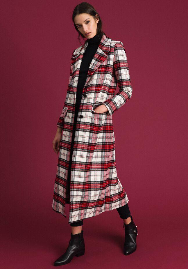 Manteau long en laine à carreaux