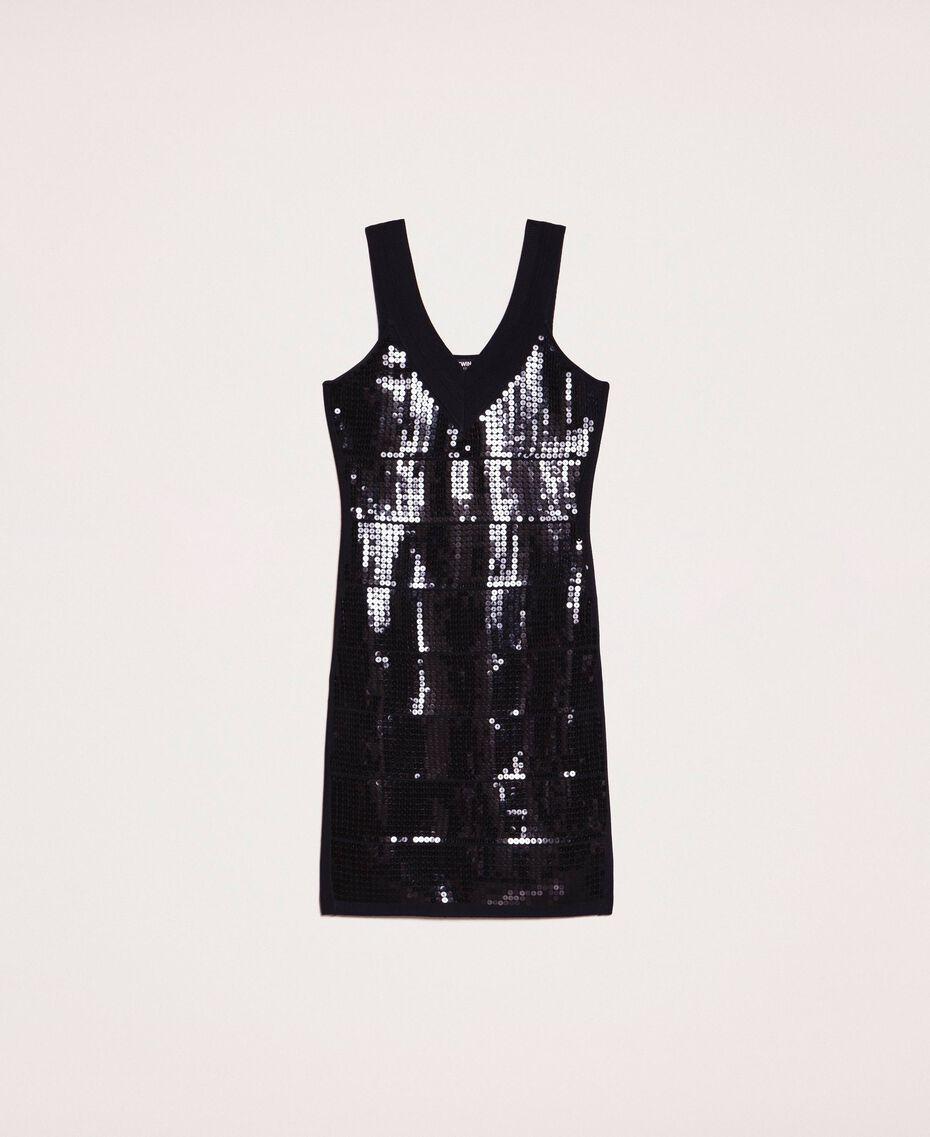Vestido de tubo de lentejuelas Negro Mujer 201MP3031-0S