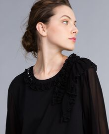 Maxi t-shirt en jersey avec ruches Noir Femme PA82DE-01