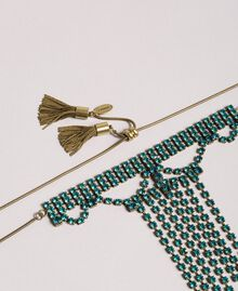 Choker with rhinestones and metal tassels Tile Blue Woman 191TO5341-02