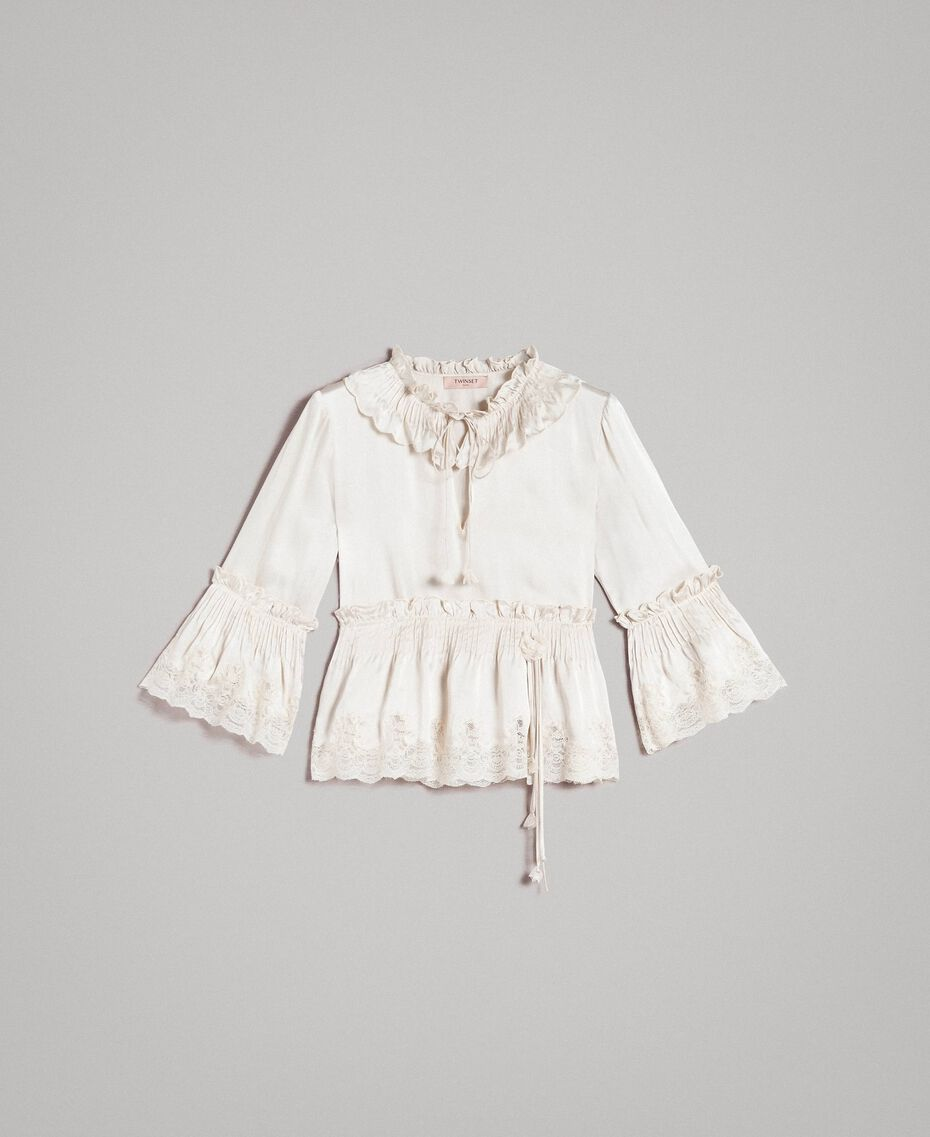 Seiden-Satin-Bluse mit Spitzenbesatz Weiß Schnee Frau 191TT2014-0S