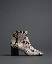 Leather ankle boots with animal print Rock Python Print Woman 192TCT012-03