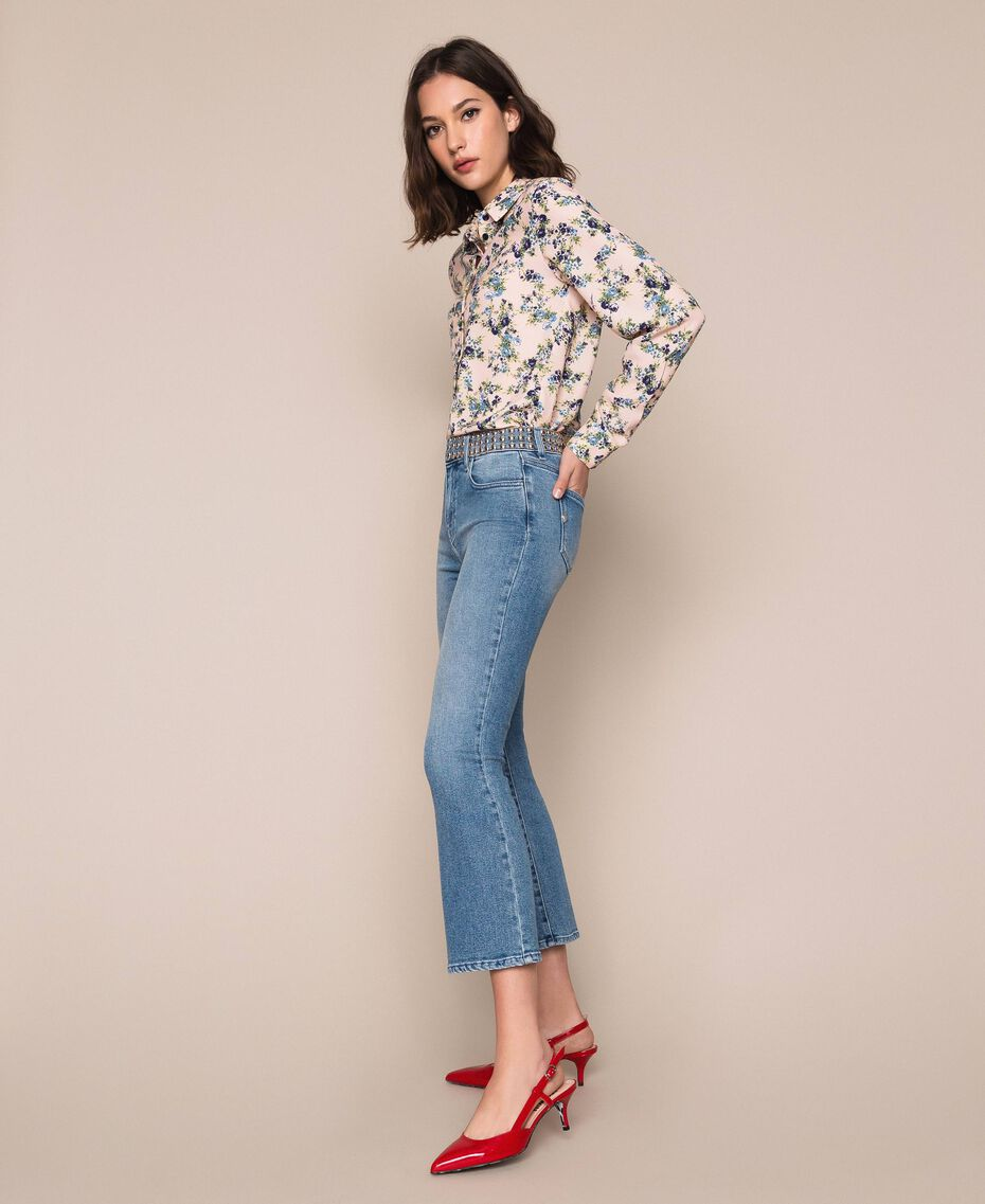 Flared jeans with studs Denim Blue Woman 201MP226A-02