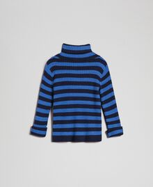 "Ribbed mock turtleneck with two-tone stripes ""Mediterranean"" Blue Striped Jacquard / Night Blue Child 192GB3170-0S"