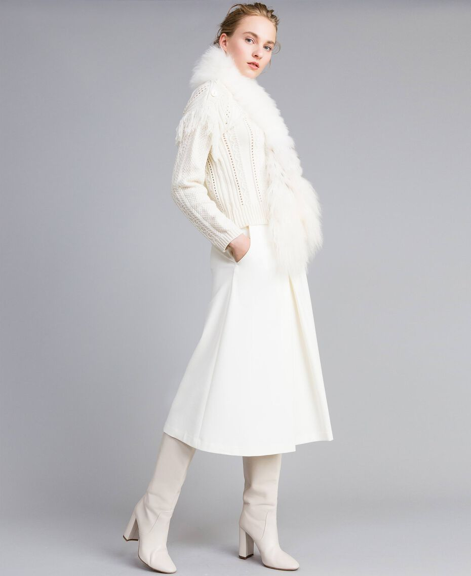 Wool blend jumper with fringes White Snow Woman PA83BA-0T