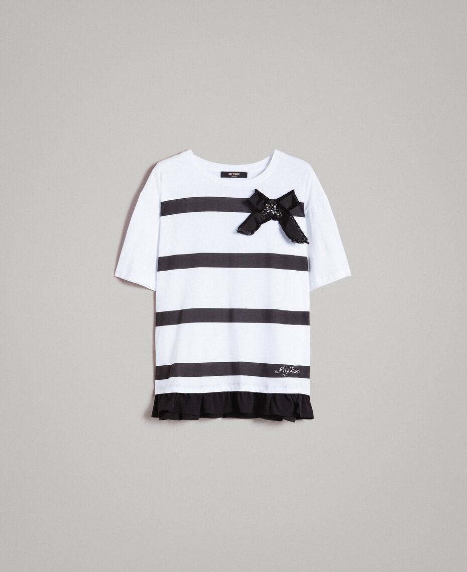 Maxi striped T-shirt with bow White Cream Woman 191MP206C-0S