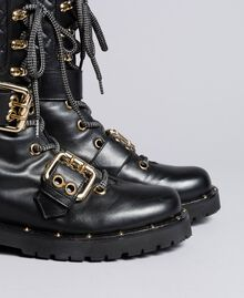 Leather combat boots with double buckle Black Woman CA8PLU-03
