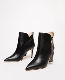 Nappa leather ankle boots with jewels and fringes Black Woman 201TCP030-02