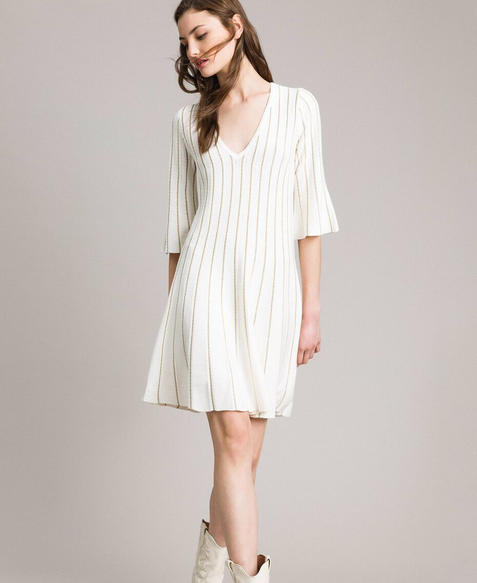 Robe en maille avec côtes en lurex Blanc Neige Femme 191TP3250-02