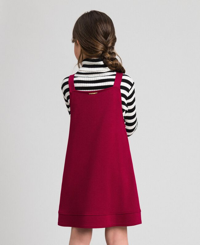 Pinafore dress with pockets Ruby Wine Red Child 192GJ2223-03
