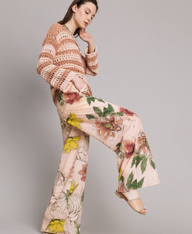 "Floral print crêpe de Chine trousers All Over ""Shell"" Beige Flower Print Woman 191MT2212-01"