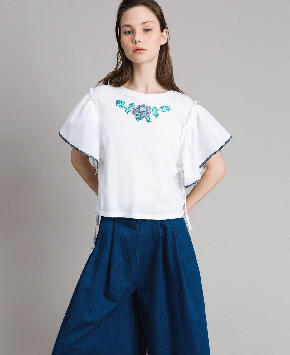 T-shirt with cross stitch embroidery White Woman 191MT2400-01