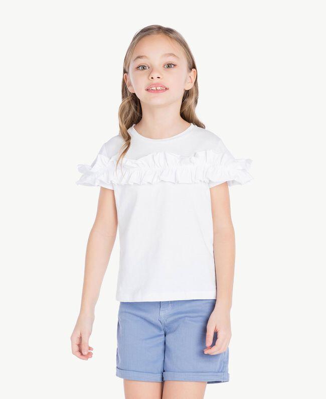 "T-shirt ruches Blanc ""Papers"" Enfant GS82KQ-02"