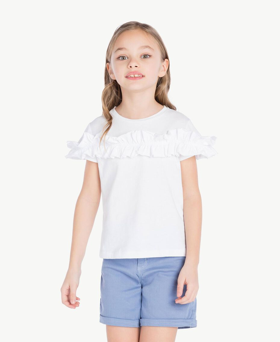 "T-shirt ruches Blanc ""Papers"" Enfant GS82KQ-02"