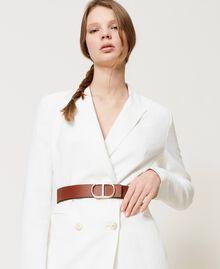 Cinturón de piel con hebilla logotipo Bicolor Marrón «Cuero» / «Marrón Oscuro» Mujer 211TO5063-0T