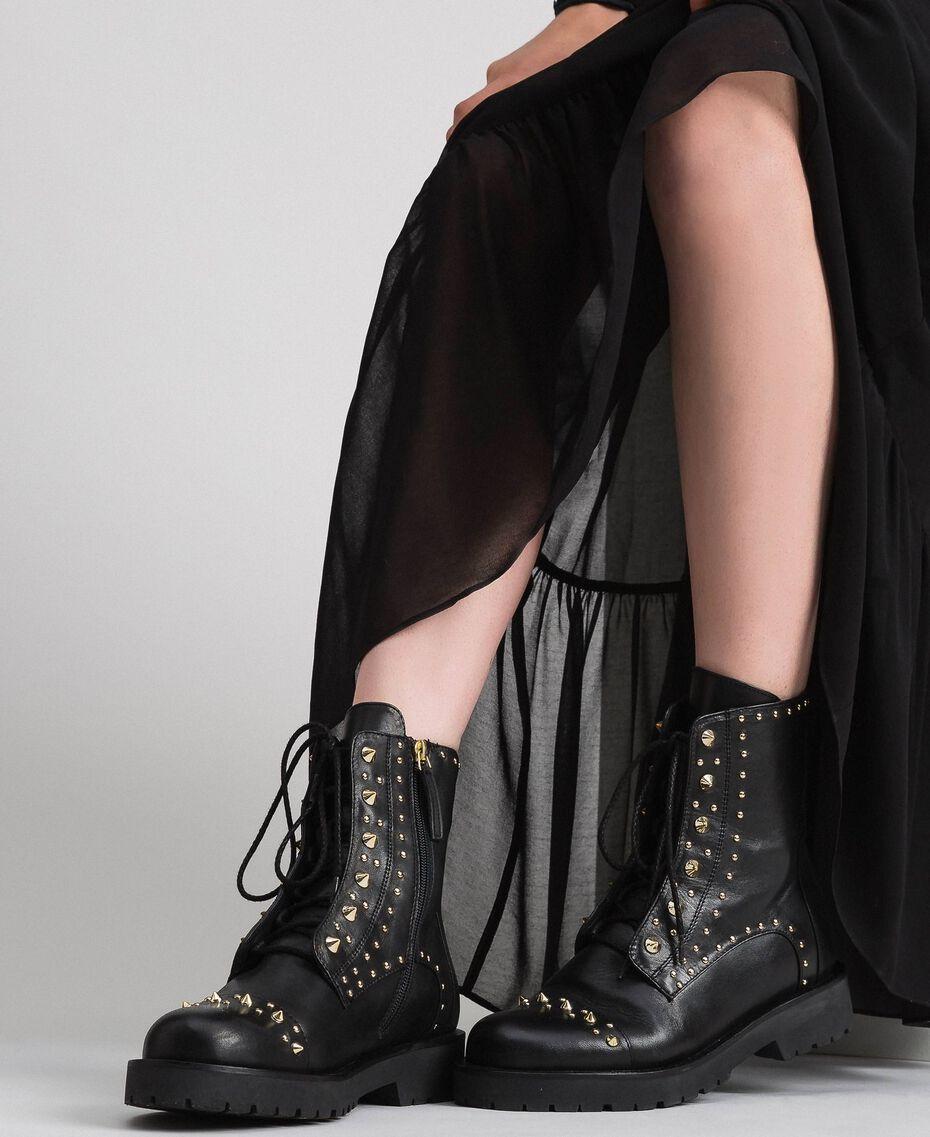 Bottines motardes en cuir avec clous Noir Femme 192TCP018-0S