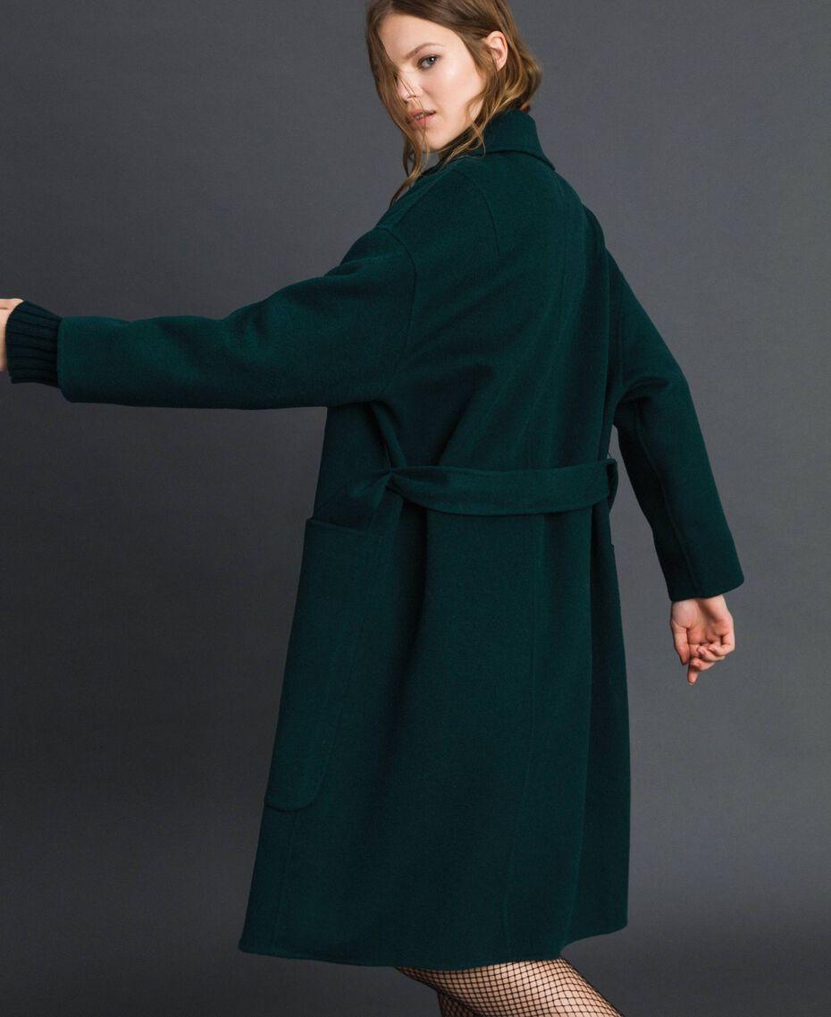 Manteau en laine mélangée doublée Vert Foncé Femme 192TP2312-05