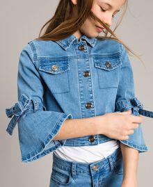 Jeansjacke mit Schleifen Hellblauer Denim Kind 191GJ2610-04