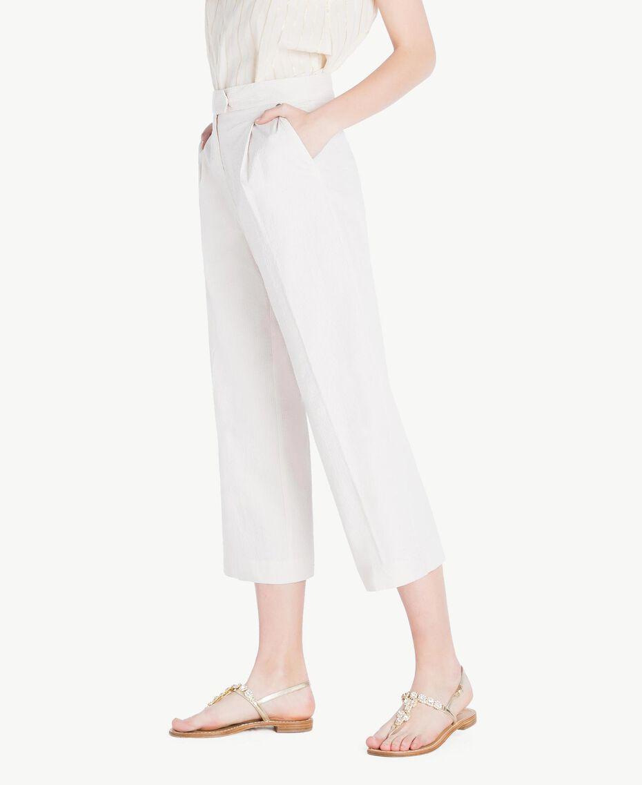 """Cropped trousers Light """"Dune"""" Beige Stripes Woman TS82Z3-02"""