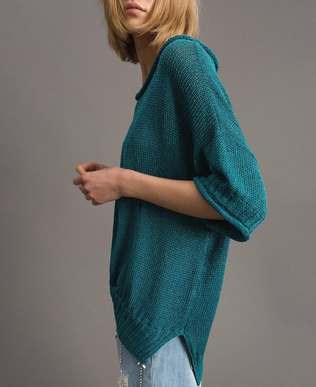 Pull oversize avec fentes Bleu Céramique Femme 191TT3150-04