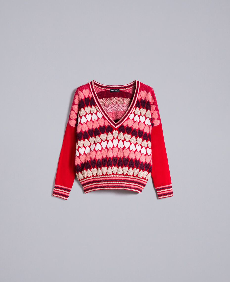 """Jumper with jacquard hearts """"Poppy"""" Red Heart Jacquard Woman PA837N-0S"""