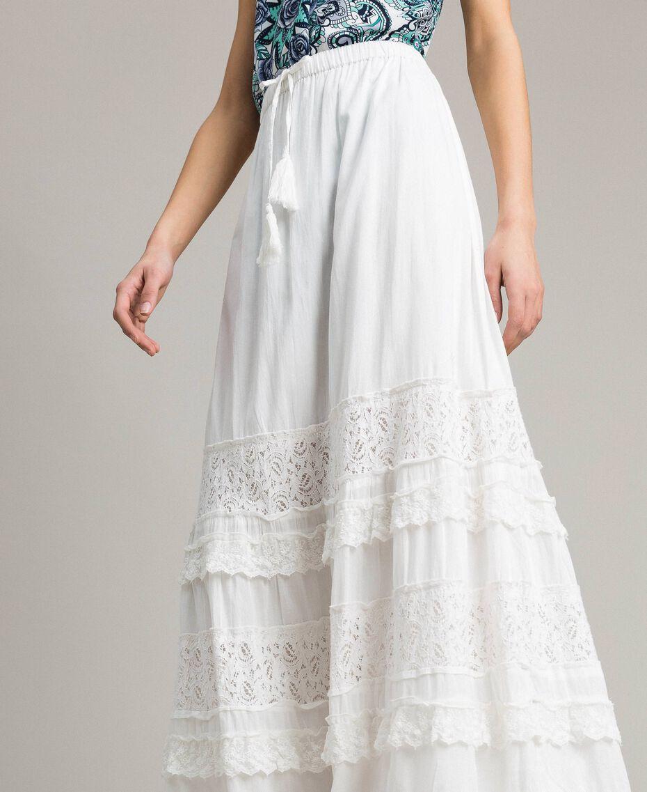 Falda larga con encaje y bordados Hueso Mujer 191MT2272-01