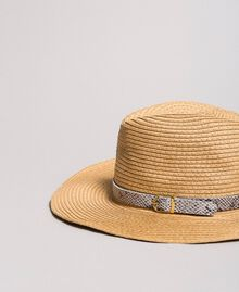 "Hat with animal print strap ""Mid Tan"" Brown Woman 191TA4391-02"
