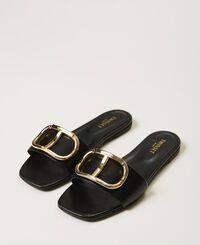 Sandales slide en cuir avec logo