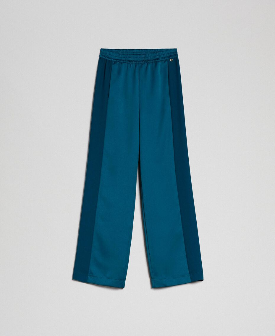 "Palazzo trousers with contrasting bands ""Lake"" Blue Woman 192MP2352-0S"