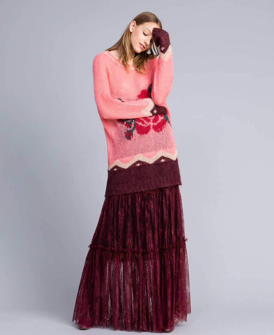 Valencienne lace long skirt Bordeaux Woman PA82FZ-02
