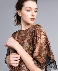 Blouse en mousseline de soie animalière Imprimé Chocolat Serpent Femme PA829B-04