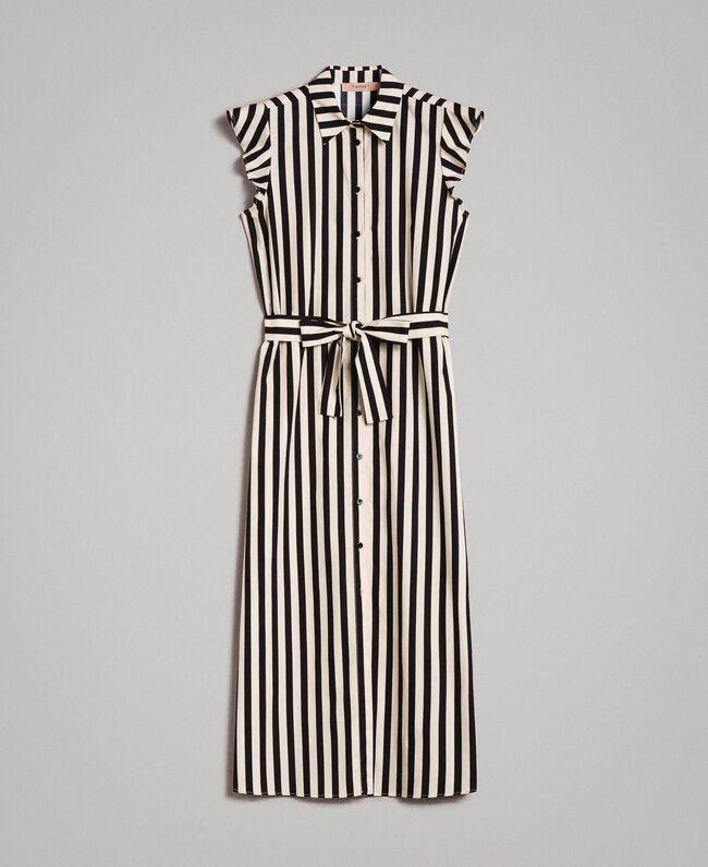 """Robe chemise en popeline à rayures Imprimé Rayures Noir / Beige """"Pâte d'Amande"""" Femme 191TT2282-0S"""