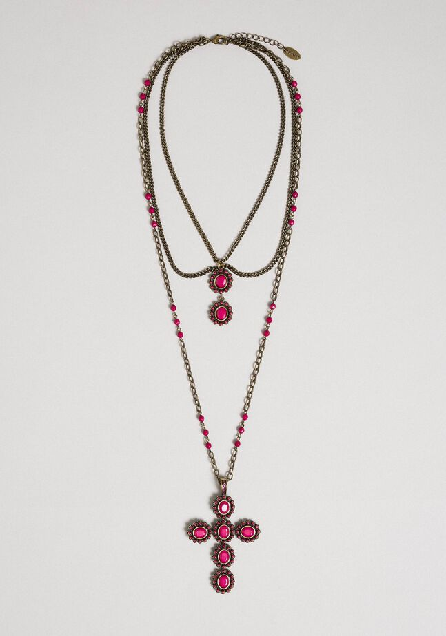 Rosary necklace with mixed chains and stones