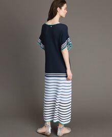 Langes Maxikleid mit Durchbruch-Streifenmuster Streifen Multicolour Blunight Frau 191MT3082-03