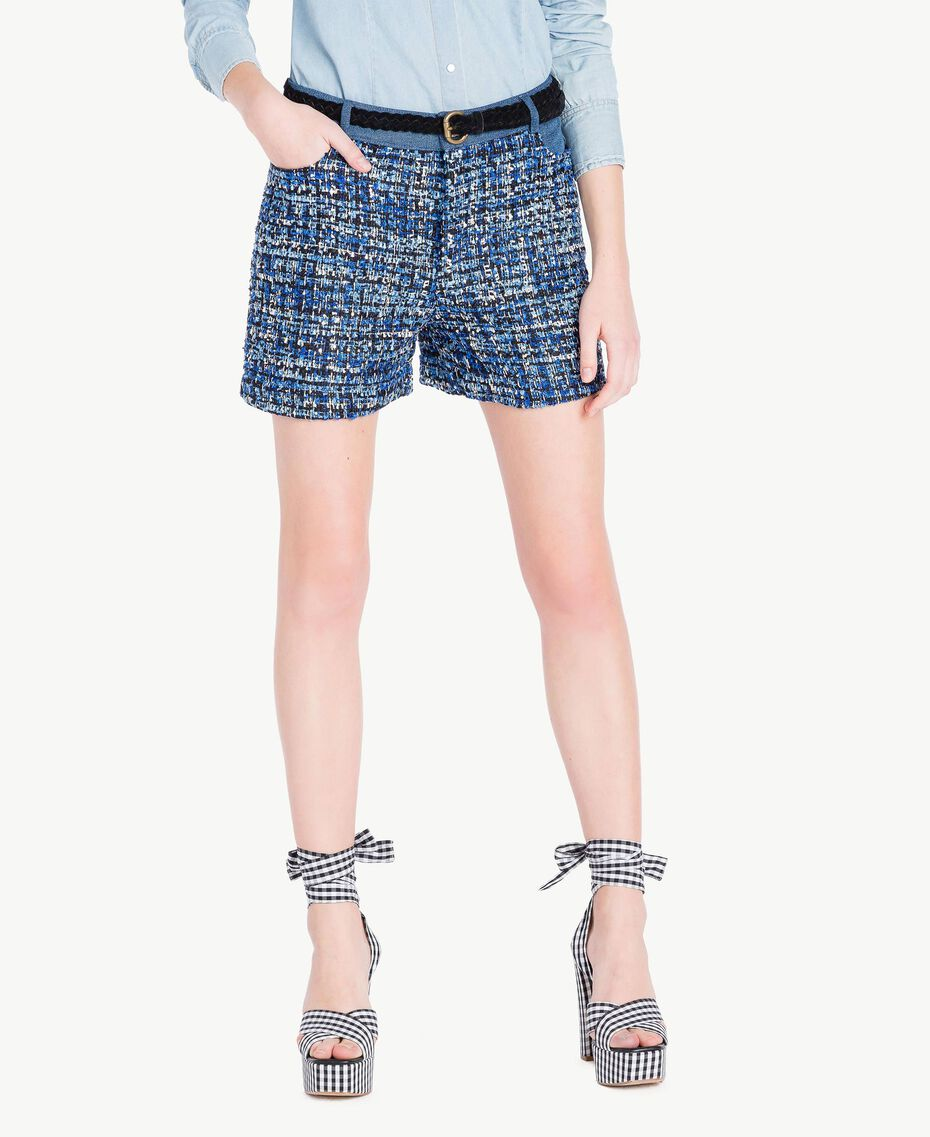 Bouclé shorts Multicolour Lapis Blue Woman JS82MF-01
