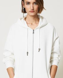 Maxi sweat-shirt avec insertions en taffetas Blanc Vanille Femme 211MT2060-04